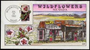 Collins Handpainted FDC Wildflowers: Nevada Desert Five Spot, Garage (7/24/1992)