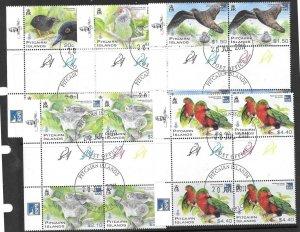 PITCAIRN ISLANDS SG831/5 2011 RARE BIRDS GUTTER BLOCK OF 4 FINE USED