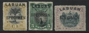 Labuan QV 1894 3 cents, 5 cents, & 24 cents overprinted SPECIMEN  mint o.g. (JD)