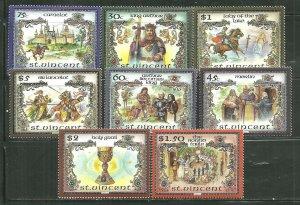 St. Vincent MNH 979a-g Legend Of King Arthurs Court SCV 9.65