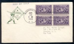 US #855 3¢ Baseball FDC Block of 4 with FARNUM cachet, VF