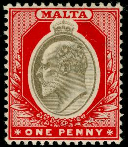 MALTA SG39, 1d blackish brown & red, LH MINT. Cat £15.