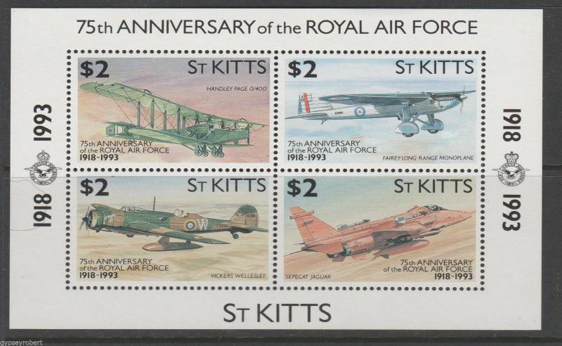 ST KITTS  75th Anniv of Royal Air Force  1993    M/S
