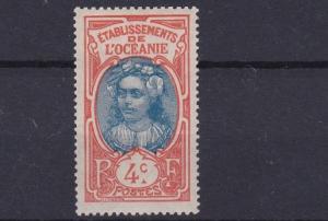 FRENCH POLYNESIA  1913 - 15  4C  BLUE & ORANGE    MH