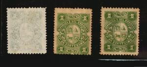 1883 Uruguay stamp #49 3 varieties listed in Ciardi Paper thick and calco Mint