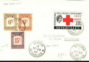 SEYCHELLES QEII Cover Underpaid Postage Dues 6c - 15c *Ladigue* CDS 1966 PB329