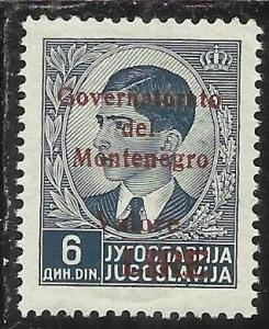 MONTENEGRO 1942 GOVERNATORATO RED OVERPRINTED SOPRASTAMPA ROSSA LIRE 6 D MNH ...