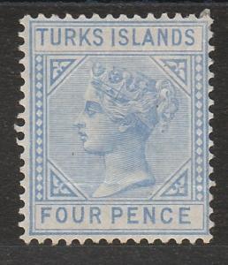 TURKS ISLANDS 1881 QV 4D BLUE