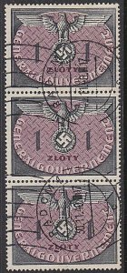 POLAND GENERAL GOVERNMENT 1940 1z fine used strip of 3......................P726