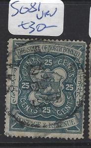 NORTH BORNEO (P1010B)  25C  ARMS ,LION SG 81 SANDAKAN CDS  VFU