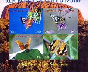 Butterflies of AUSTRALIA Sheet Imperforated Mint (NH)