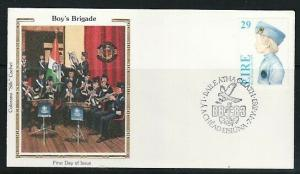 Ireland, Scott cat. 560 only, Boy`s Brigade value. Silk Cachet, First Day cover