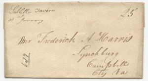 VA US STAMPLESS COVER Subletts Tavern Powhatan Co. DPO #3 1840's DBL Rate 25c