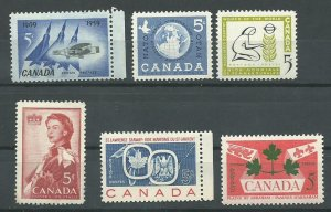 Canada  383-388   Mint NH VF Complete year set  PD 1959
