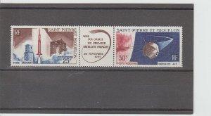 St. Pierre & Miquelon  Scott#  C31a  MNH Strip of 2+Label  (1966 Satellite)