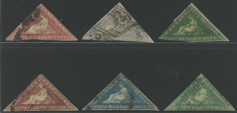 6 Diff Cape of Good Hope Triangles - Sc# 3 5 6 12 13 & 15 NICE!  S1672
