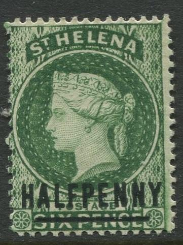 St.Helena - Scott 33 - QV Overprint -1884 - MH - Single 1/2p on a 6p Stamp