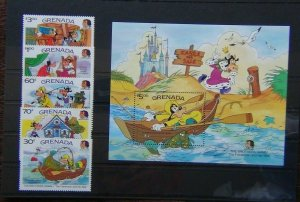Grenada 1985 Birth Centenary of Grimm Brothers Disney set & Miniature Sheet MNH