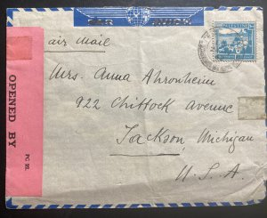 1942 Tel Aviv Palestine Airmail Censored Cover To Jackson MI USA