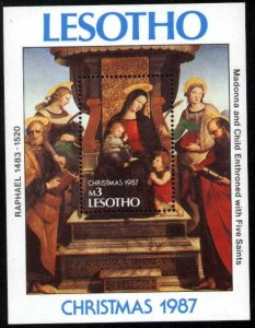 Religious Painting by Raphael, Madonna & Child, Lesotho S/S SC#605 MNH
