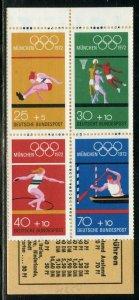 GERMANY 1972 MUNICH OLYMPICS  BOOKLET SCOTT#B490e  MINT NH--SCOTT $8.00 FOR PANE