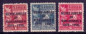 Samoa - Scott #163-165 - MH - Crease LL #164 - SCV $4.40