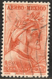 MEXICO C308, 700th Anniv of the birth of Dante Alighieri USED. VF.  (858)