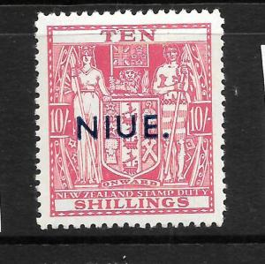 NIUE  1941-67  10/-  ARMS  MNH    SG 81