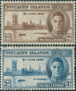 Pitcairn Islands 1946 SG9-10 Parliament House London set FU
