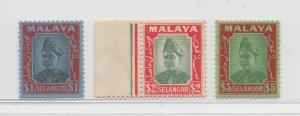 Malaya Selangor - 1941 - SG 86-87 + $5 unissued - MNH