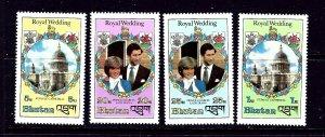 Bhutan 317-20 MNH 1981 Prince Charles Wedding