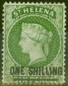 St Helena 1876 1s Yellow-Green SG30 V.F Very Lightly Mtd Mint