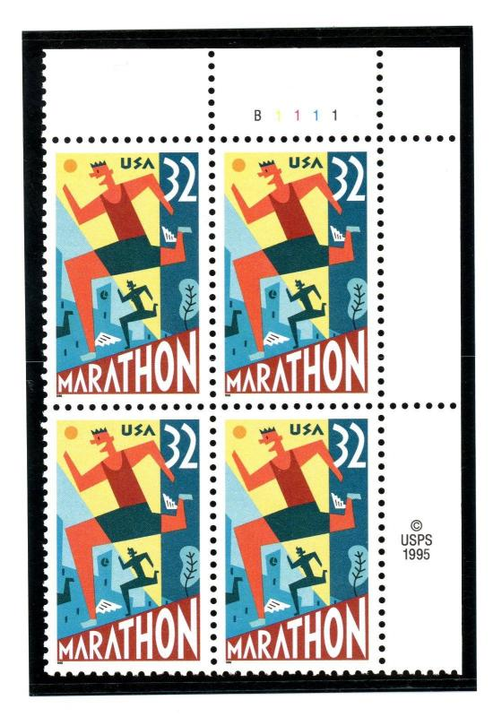 US  3067   Marathon 32c - Plate Block of 4 - MNH - 1996 - B1111  UR