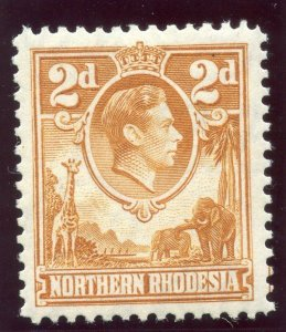 Northern Rhodesia 1938 KGVI 2d yellow-brown MLH. SG 31. Sc 31.
