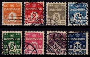 Denmark 1905-17 Definitives, solid background perf 12½, Set [Used]