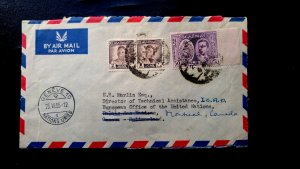 RARE IRAQ 1955 COVER TO UNITED NATIONS, SWITZERLAND FORWARDED TO MONTREAL, CANAD