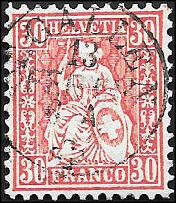 1862 SWITZERLAND  SC# 46 USED XF SOUND CV $85.00