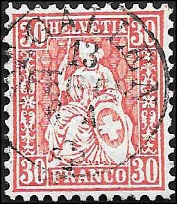1862 SWITZERLAND  SC# 46 USED XF SOUND CV $85.00