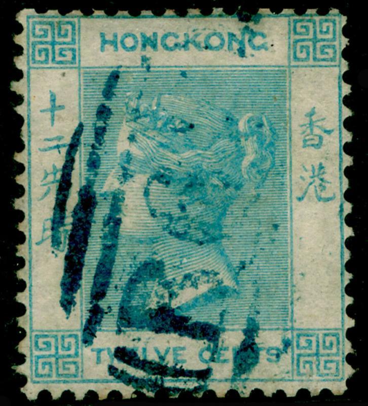 HONG KONG SG3, 12c Pale Greenish Blue, FINE USED. Cat £60.