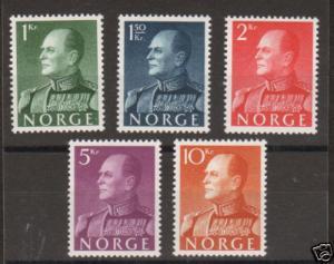 Norway Sc 370-374 MLH. 1959 King Olav V definitives, complete set, VLH, VF