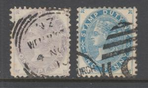 New Zealand SG F1-F2, used. 1882 Postal Fiscals, complete set, sound, scarce.