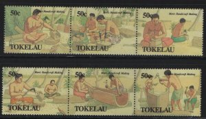 Tokelau  163-164 (2) STRIP OF 3, HINGED, 1989 Food gathering