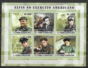 St. Thomas & Prince Islands MNH S/S Elvis Presley's Service Years