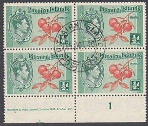 PITCAIRN 1940 GVI ½d plate/imprint block of 4 fine used....................29954