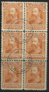 Newfoundland 1897 2 cents orange used block of 6