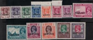 Burma 1939 SC O15-O27 Mint SCV$ 249.40 Set