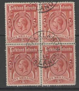 FALKLAND ISLANDS SG67 1912 5/= DEEP ROSE-RED FINE USED BLOCK OF 4 SMALL THIN