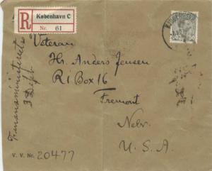 Denmark 50o Christian X 1927 Kjobenhavn, C Registered to Fremont, Nebr.  Crea...