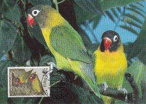 Zambia 1996 Maxicard Sc #656 500k Black-cheeked lovebird WWF