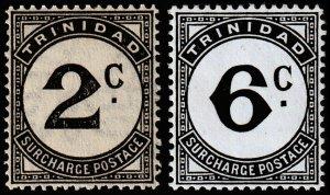 Trinidad & Tobago Scott J9, J11 (1947) Mint H VF, CV $10.50 M